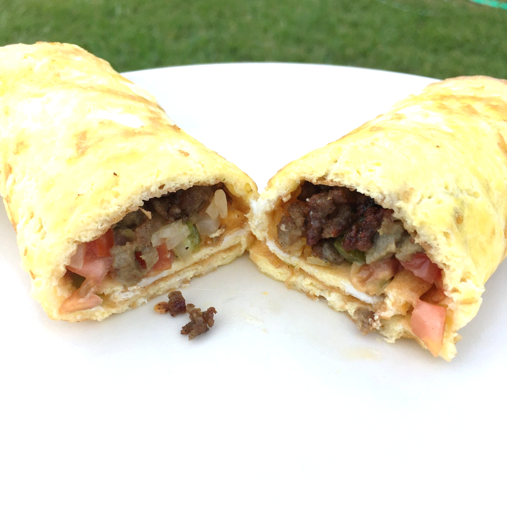 Keto Breakfast Wrap With Minced Breakfast Sausage, Onion, Pepper & Fresh Roma