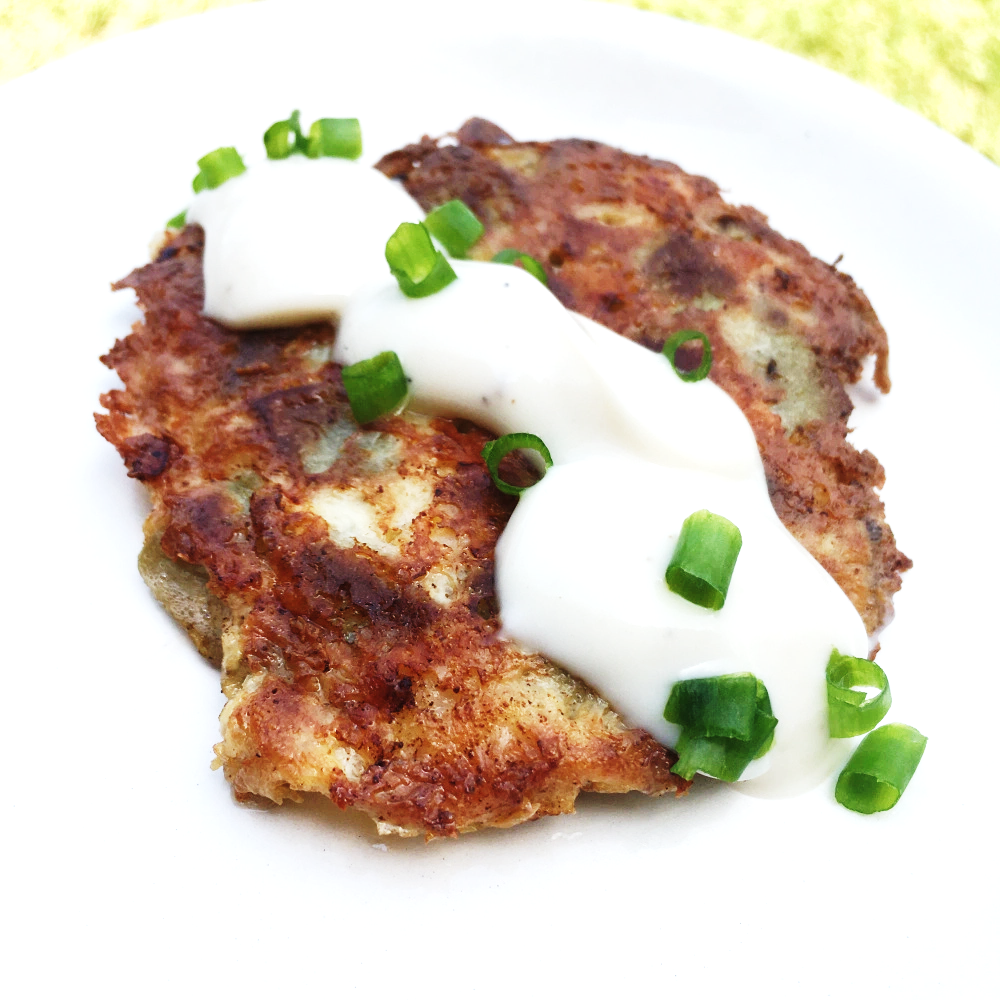 Keto Eggplant Fritters Recipe With Shrimp & Alfredo Sauce!