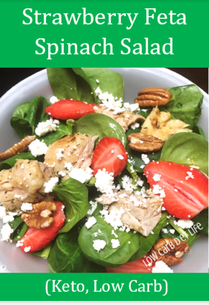 Strawberry Feta Spinach Salad (Keto, Low Carb) Graphic